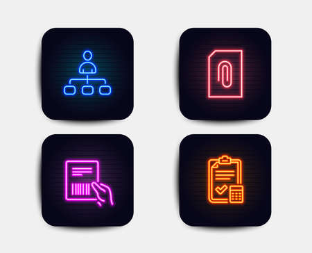Neon glow lights. Set of Management, Attachment and Parcel invoice icons. Accounting checklist sign. Agent, Attach document, Delivery document. Calculator.  Neon icons. Glowing light banners. Vector