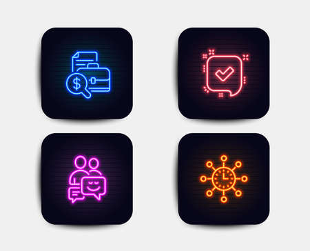 Neon glow lights. Set of Confirmed, Communication and Accounting report icons. World time sign. Accepted message, Business messages, Financial case. Measurement device.  Neon icons. Vector