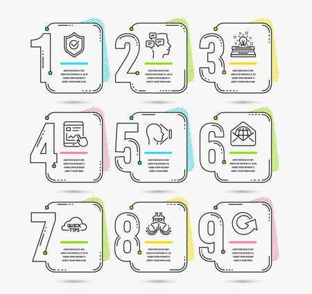 Infographic template with numbers 9 options. Set of Ship, Internet report and Typewriter icons. Face id, Web mail and Approved shield signs. Quick tips, Messages and Reload symbols. Vector