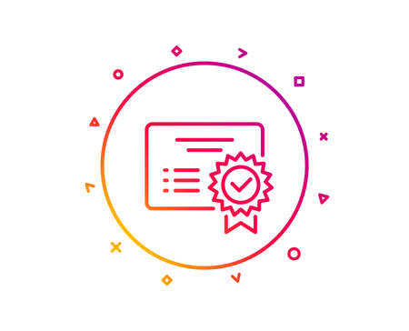 Certificate line icon. Verified document sign. Accepted or confirmed symbol. Gradient pattern line button. Certificate icon design. Geometric shapes. Vector