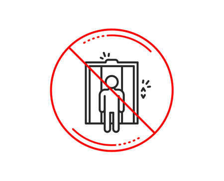 No or stop sign. Lift line icon. Elevator sign. Transportation between floors symbol. Caution prohibited ban stop symbol. No  icon design.  Vector