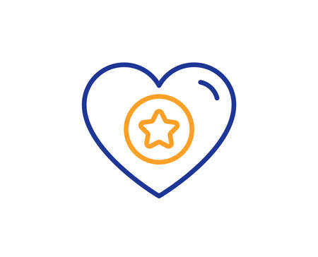 Heart and Star line icon. Favorite like sign. Positive feedback symbol. Colorful outline concept. Blue and orange thin line color Heart icon. Vector