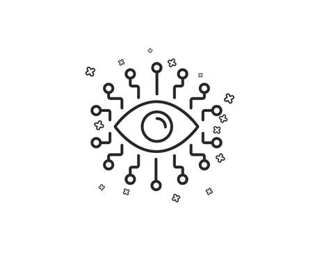 Artificial intelligence line icon. All-seeing eye sign. Geometric shapes. Random cross elements. Linear Artificial intelligence icon design. Vector Illustration