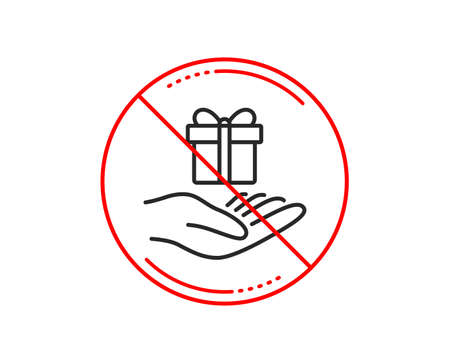 No or stop sign. Loyalty program line icon. Gift box sign. Present symbol. Caution prohibited ban stop symbol. No  icon design.  Vector