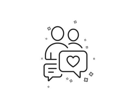 Couple communication line icon. Love chat symbol. Valentines day sign. Geometric shapes. Random cross elements. Linear Dating chat icon design. Vector