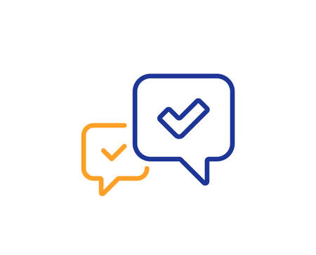 Approve line icon. Accepted or confirmed sign. Speech bubble symbol. Colorful outline concept. Blue and orange thin line color icon. Approve Vector
