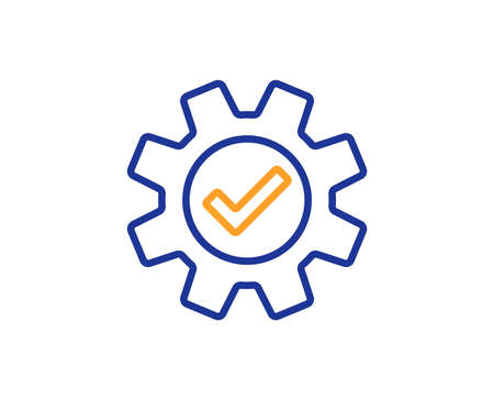 Cogwheel line icon. Approved Service sign. Transmission Rotation Mechanism symbol. Colorful outline concept. Blue and orange thin line color icon. Service Vector