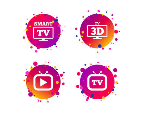 Smart 3D TV mode icon. Widescreen symbol. Retro television and TV table signs. Gradient circle buttons with icons. Random dots design. Vector