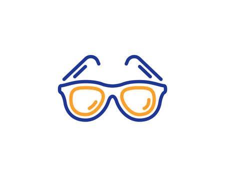 Travel sunglasses line icon. Trip sun glasses sign. Holidays symbol. Colorful outline concept. Blue and orange thin line color Sunglasses icon. Vector