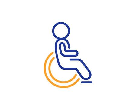 Icona della linea disabilitata. Cartello per disabili in sedia a rotelle. Simbolo di trasporto di persone. Concetto di contorno colorato. Icona del colore della linea sottile blu e arancione. Vettore disabilitato Vettoriali
