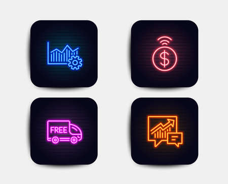Neon glow lights. Set of Free delivery, Contactless payment and Operational excellence icons. Accounting sign. Shopping truck, Financial payment, Corporate business. Supply and demand.  Neon icons Ilustração
