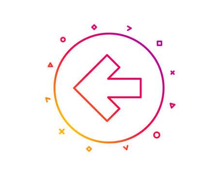 Left arrow line icon. Direction Arrowhead symbol. Navigation pointer sign. Gradient pattern line button. Left arrow icon design. Geometric shapes. Vector