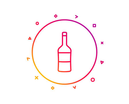 Wine bottle line icon. Merlot or Cabernet Sauvignon sign. Gradient pattern line button. Wine icon design. Geometric shapes. Vector Illustration