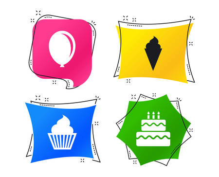 Birthday party icons. Cake with ice cream signs. Air balloon symbol. Geometric colorful tags. Banners with flat icons. Trendy design. Vector