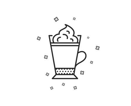 Latte coffee with Whipped cream icon. Hot drink sign. Beverage symbol. Geometric shapes. Random cross elements. Linear Latte coffee icon design. Vector