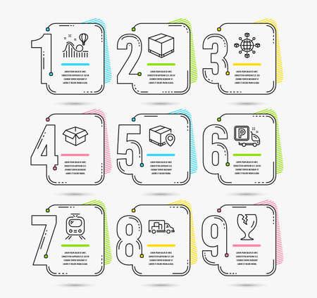 Set di timeline infografica della rete logistica, monitoraggio dei pacchi e icone della scatola aperta Parcheggio per camion, scatola di consegna e segnaletica del treno. Vettore