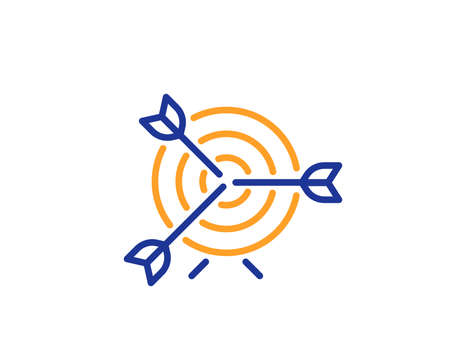 Target line icon. Marketing targeting strategy symbol. Aim with arrows sign. Colorful outline concept. Blue and orange thin line color icon. Target Vector Иллюстрация