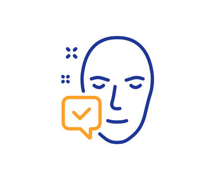 Face accepted line icon. Access granted sign. Facial identification success symbol. Colorful outline concept. Blue and orange thin line color icon. Face accepted Vector Reklamní fotografie - 126856598