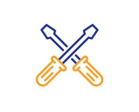 Screwdriver line icon. Repair service sign. Fix instruments symbol. Colorful outline concept. Blue and orange thin line color Screwdriverl icon. Vector Ilustração