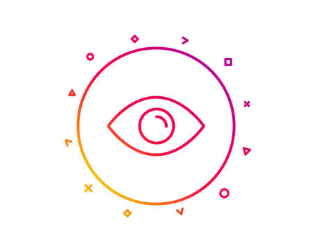 Eye line icon. Look or Optical Vision sign. View or Watch symbol. Gradient pattern line button. Eye icon design. Geometric shapes. Vector