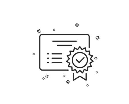 Certificate line icon. Verified document sign. Accepted or confirmed symbol. Geometric shapes. Random cross elements. Linear Certificate icon design. Vector