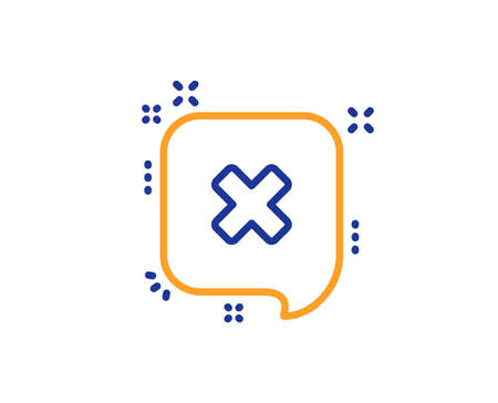 Reject message line icon. Decline or remove chat sign. Colorful outline concept. Blue and orange thin line color Reject icon. Vector Illustration