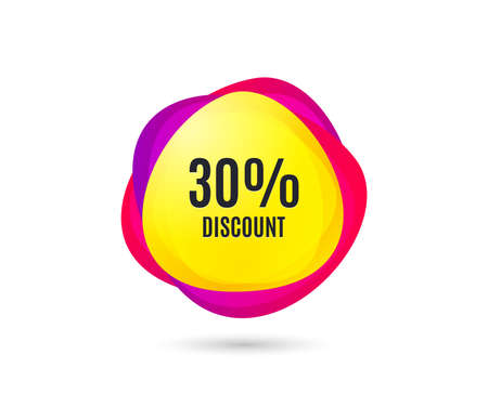 30% Discount. Sale offer price sign. Special offer symbol. Gradient sale tag. Abstract shopping banner. Template for design. Vector