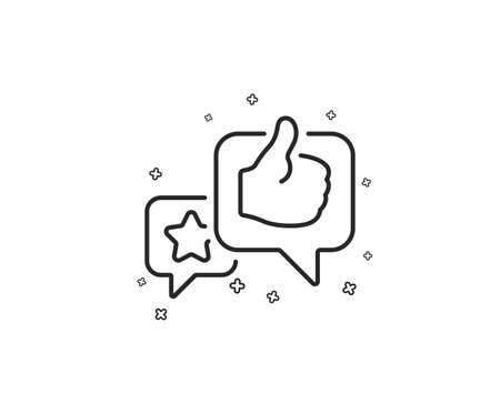Star, like hand line icon. Feedback rating sign. Customer satisfaction symbol. Geometric shapes. Random cross elements. Linear Like icon design. Vector