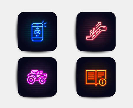 Neon set of Mail, Escalator and Tractor icons. Technical info sign. Smartphone communication, Elevator, Farm transport. Documentation. Neon icons. Glowing light banners. Vector Ilustração