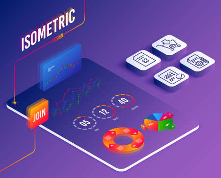 Isometric vector. Set of Shopping, Documentation and Delete file icons. Checked calculation sign. Add to cart, Project, Remove document. Statistical data.  Software or Financial markets. Vector