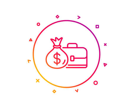 Business case line icon. Portfolio and Salary symbol. Diplomat with Money bag sign. Gradient pattern line button. Salary icon design. Geometric shapes. Vector Illustration