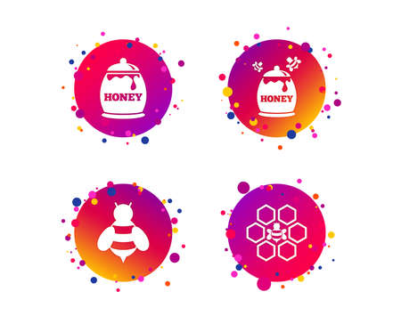 Honey icon. Honeycomb cells with bees symbol. Sweet natural food signs. Gradient circle buttons with icons. Random dots design. Vector