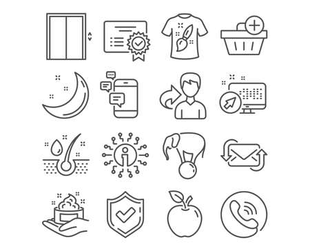 Set of Certificate, Lift and Communication icons. T-shirt design, Add purchase and Serum oil signs. Elephant on ball, Refresh mail and Skin care symbols. Vector Stock Illustratie