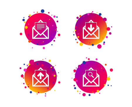 Mail envelope icons. Find message document symbol. Post office letter signs. Inbox and outbox message icons. Gradient circle buttons with icons. Random dots design. Vector Illustration