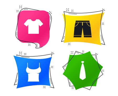 Clothes icons. T-shirt and bermuda shorts signs. Business tie symbol. Geometric colorful tags. Banners with flat icons. Trendy design. Vector