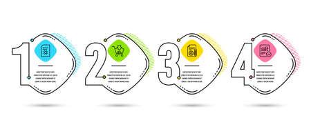 Infografica modello 4 opzioni o passaggi. Set di icone per lo shopping, la documentazione e l'eliminazione dei file. Segno di calcolo controllato. Aggiungi al carrello, Progetto, Rimuovi documento. Dati statistici. Vettore
