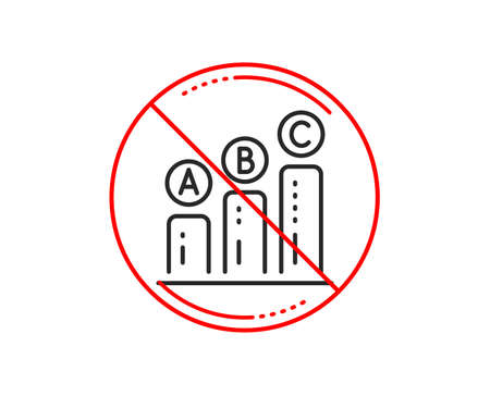 No or stop sign. Graph line icon. Column chart sign. Ab test diagram symbol. Caution prohibited ban stop symbol. No  icon design.  Vector Illustration