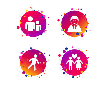 Businessman person icon. Group of people symbol. Man love Woman or Lovers sign. Caution slippery. Gradient circle buttons with icons. Random dots design. Vector