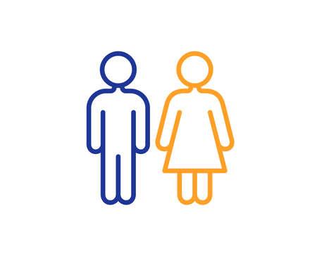 Symbol für die Toilettenzeile. WC-WC-Schild. Symbol für öffentliche Toiletten. Buntes Umrisskonzept. Symbol für blaue und orangefarbene dünne Linie. Toilettenvektor Vektorgrafik