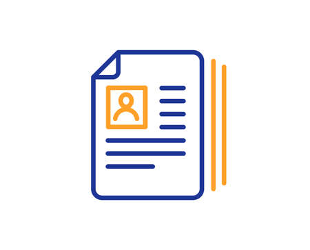 Business recruitment line icon. CV documents or Portfolio sign. Colorful outline concept. Blue and orange thin line color icon. CV documents Vector Иллюстрация