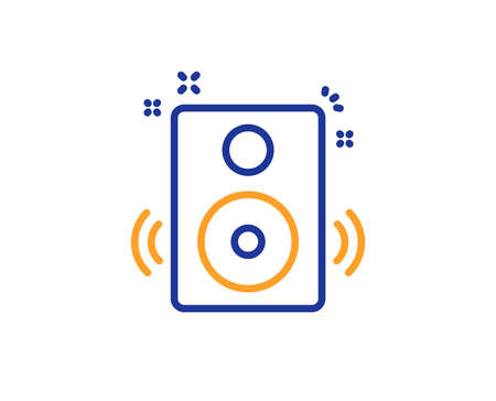 Speakers line icon. Music sound sign. Musical device symbol. Colorful outline concept. Blue and orange thin line color icon. Speakers Vector