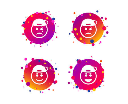 Rapper smile face icons. Happy, sad, cry signs. Happy smiley chat symbol. Sadness depression and crying signs. Gradient circle buttons with icons. Random dots design. Vector
