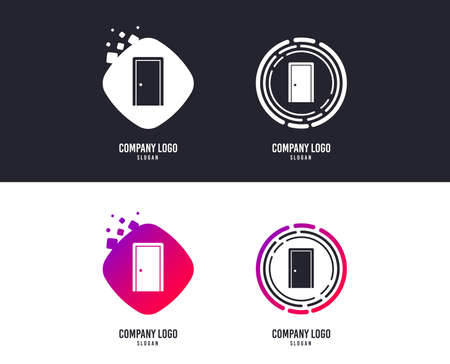 Logotype concept. Door sign icon. Enter or exit symbol. Internal door. Logo design. Colorful buttons with icons. Vector Illustration