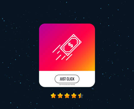 Fast payment line icon. Dollar exchange sign. Finance symbol. Web or internet line icon design. Rating stars. Just click button. Vector
