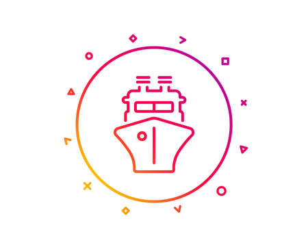Ship line icon. Watercraft transport sign. Shipping symbol. Gradient pattern line button. Ship icon design. Geometric shapes. Vector Standard-Bild - 126856678