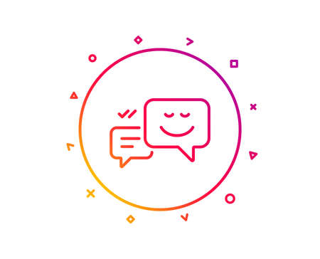 Message speech bubbles with Smile line icon. Chat emotion sign. Gradient pattern line button. Happy emotion icon design. Geometric shapes. Vector