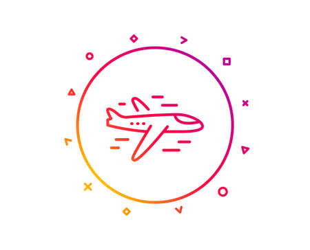 Airplane line icon. Plane flight transport sign. Aircraft symbol. Gradient pattern line button. Airplane icon design. Geometric shapes. Vector