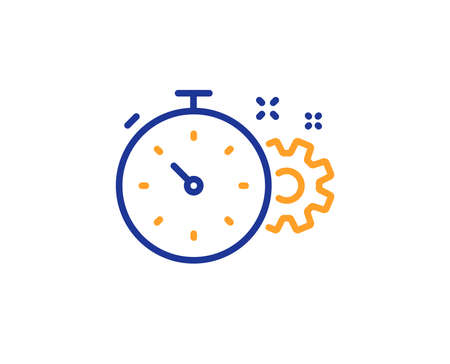 Cogwheel with timer line icon. Engineering tool sign. Cog gear symbol. Colorful outline concept. Blue and orange thin line color Cogwheel timer icon. Vector