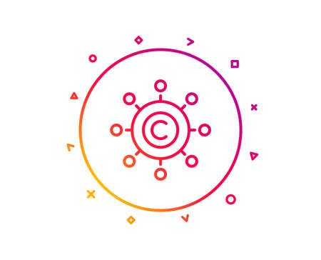 Copywriting network line icon. Copyright sign. Content networking symbol. Gradient pattern line button. Copywriting network icon design. Geometric shapes. Vector Illusztráció
