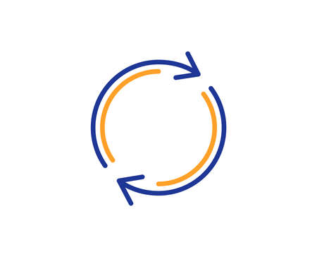 Refresh line icon. Rotation arrow sign. Reset or Reload symbol. Colorful outline concept. Blue and orange thin line color icon. Full rotation Vector Illustration